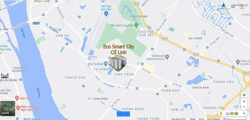 Vị trí dự án Eco Smart City Cổ Linh